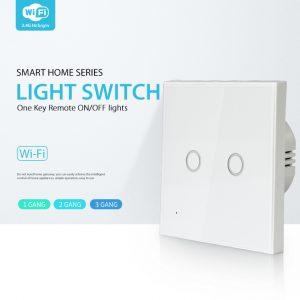 Công tắc cảm ứng âm tường Wifi thông minh Tuya hình vuông 2 nút NAS-SC03W-2