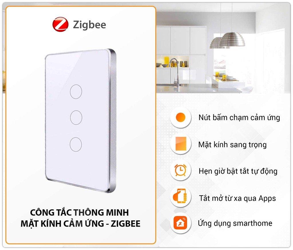 Công Tắc Thông Minh Cảm Ứng Zigbee Tuya Viền Kim Loại WZ1 1 nút