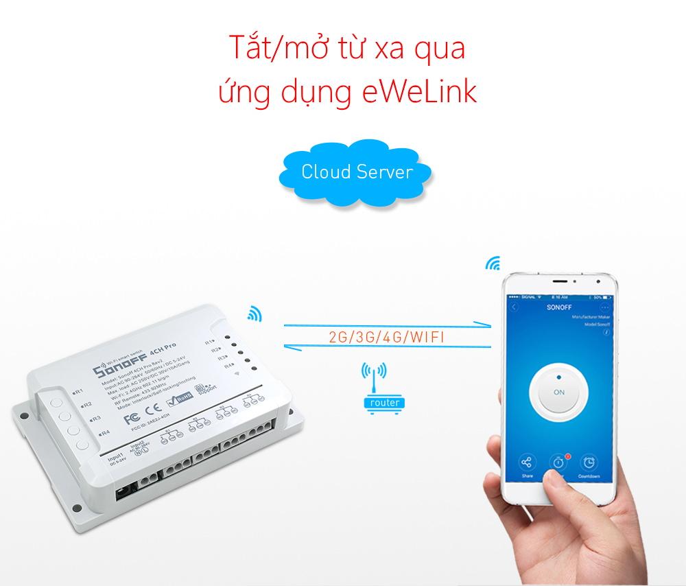 Sonoff 4CH Pro R2 - Công tắc WiFi RF 4 cổng