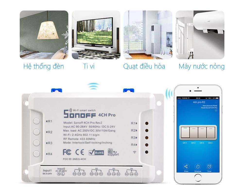 Sonoff 4CH Pro R3 - Công tắc WiFi RF 4 cổng
