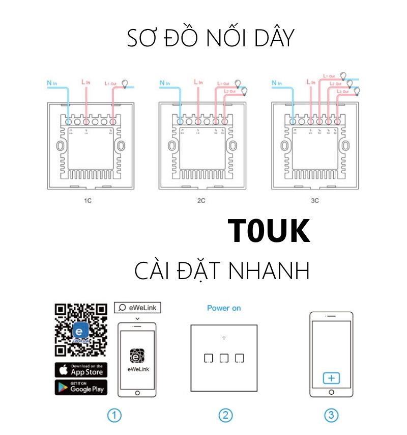 Sonoff T0EU1C-TX - Công tắc WiFi cảm ứng 1 cổng chuẩn EU trắng