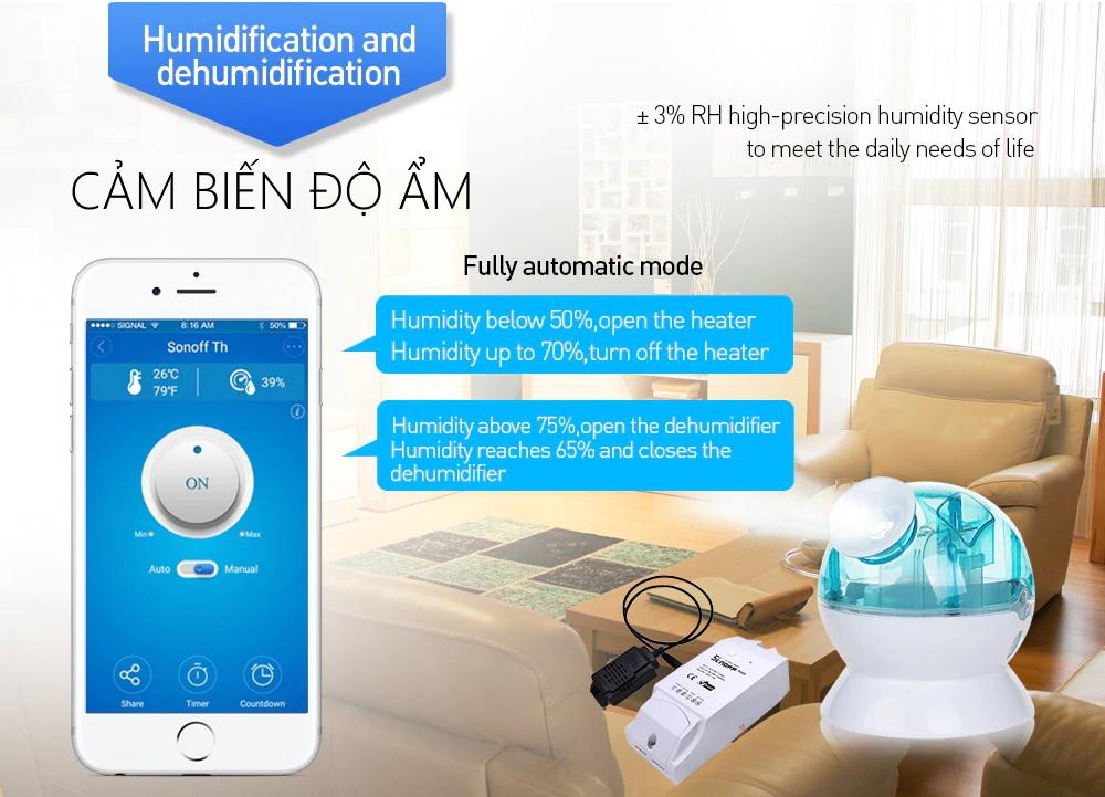 Sonoff TH10 - Công tắc thông minh điều khiển từ xa qua Wifi tích hợp cảm biến nhiệt độ, độ ẩm