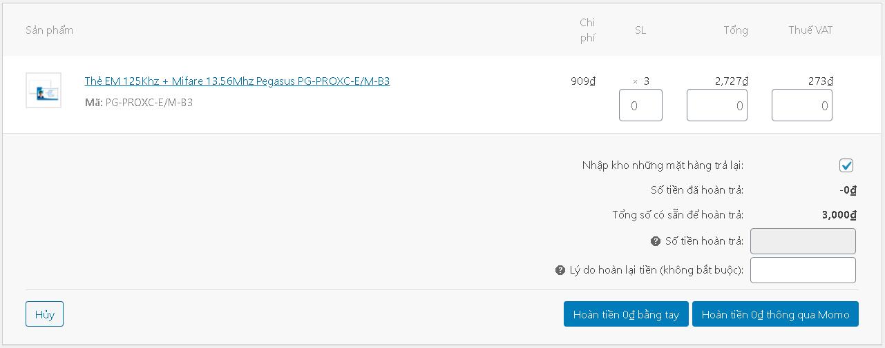 Momo WooCommerce refund