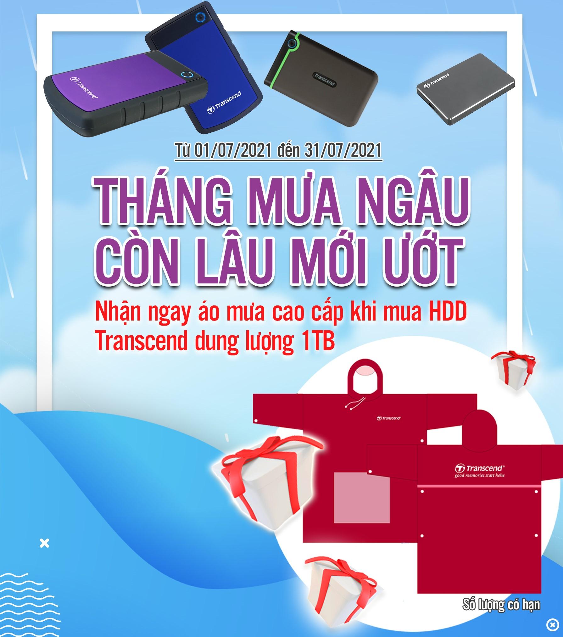 Nhận ngay áo mưa cao cấp khi mua HDD Transcend dung lượng 1 TB